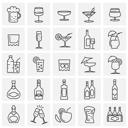 Beverage line icons set on squares background for graphic and web design, Modern simple vector sign. Internet concept. Trendy symbol for website design web button or mobile app