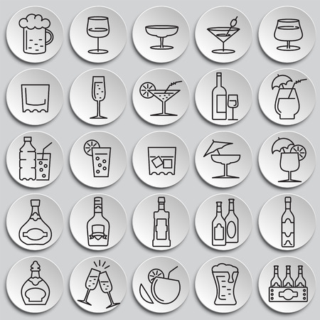 Beverage line icons set on paltes background for graphic and web design, Modern simple vector sign. Internet concept. Trendy symbol for website design web button or mobile app