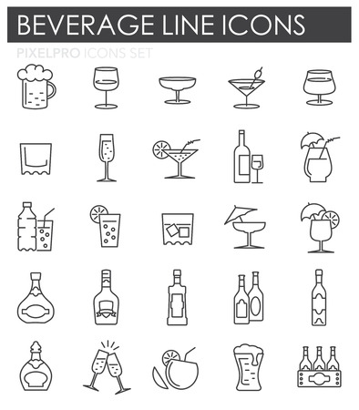 Beverage line icons set on white background for graphic and web design, Modern simple vector sign. Internet concept. Trendy symbol for website design web button or mobile app