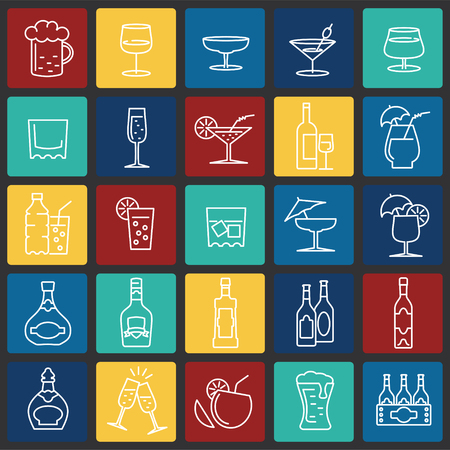Beverage line icons set on color squares background for graphic and web design, Modern simple vector sign. Internet concept. Trendy symbol for website design web button or mobile app