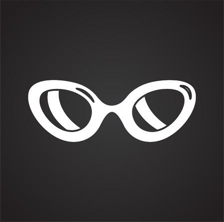 Glasses icon on black background for graphic and web design, Modern simple vector sign. Internet concept. Trendy symbol for website design web button or mobile app Foto de archivo - 118001688