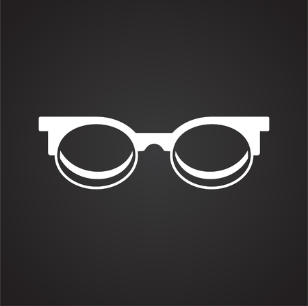 Glasses icon on black background for graphic and web design, Modern simple vector sign. Internet concept. Trendy symbol for website design web button or mobile app