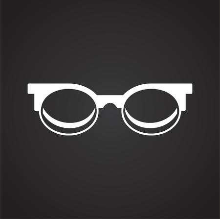 Glasses icon on black background for graphic and web design, Modern simple vector sign. Internet concept. Trendy symbol for website design web button or mobile app Foto de archivo - 118001750