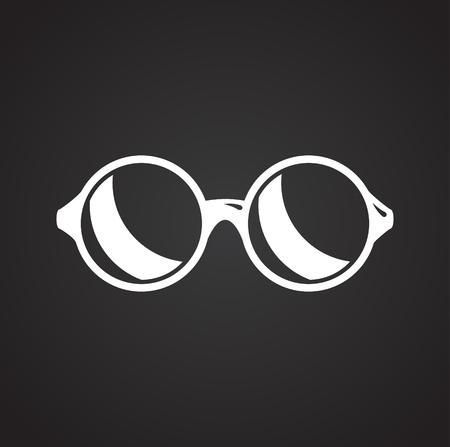 Glasses icon on black background for graphic and web design, Modern simple vector sign. Internet concept. Trendy symbol for website design web button or mobile app Foto de archivo - 118001837