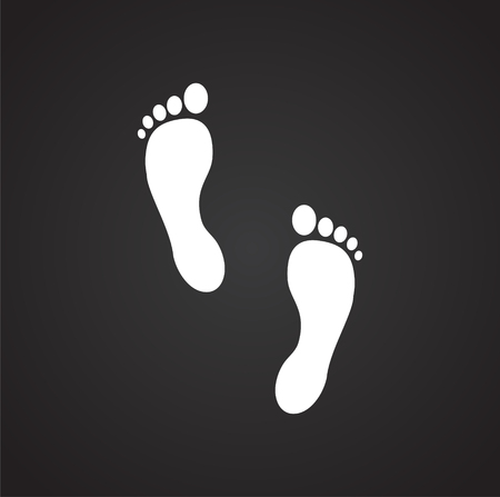Footprint icon on black background for graphic and web design. Simple vector sign. Internet concept symbol for website button or mobile app.