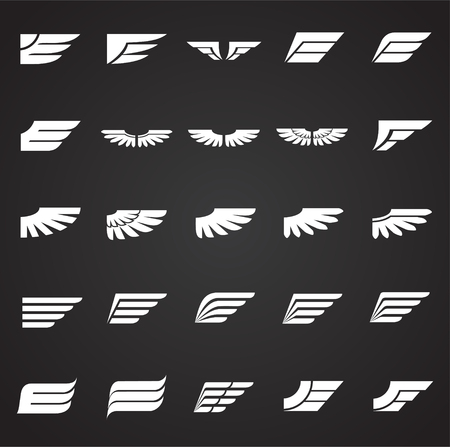 Wings icons set on black background for graphic and web design. Simple vector sign. Internet concept symbol for website button or mobile app. 일러스트