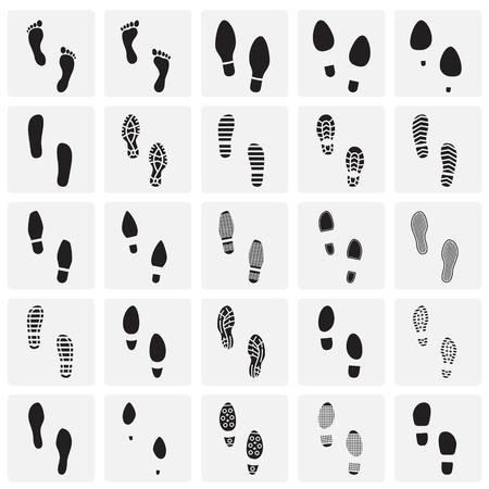 Footprints icons set on squares background for graphic and web design. Simple vector sign. Internet concept symbol for website button or mobile app.