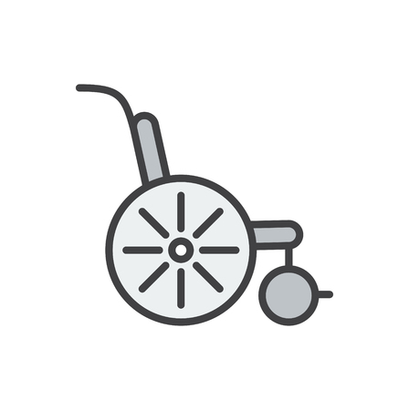 Wheel chair line icon on background for graphic and web design. Simple vector sign. Internet concept symbol for website button or mobile app. Иллюстрация