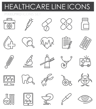Medical line icons set on white background for graphic and web design. Simple vector sign. Internet concept symbol for website button or mobile app.