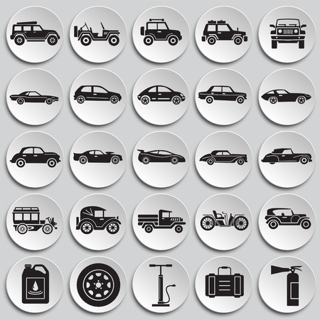 Cars icons set on plates background for graphic and web design. Simple vector sign. Internet concept symbol for website button or mobile app.