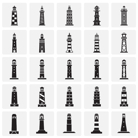 Lighthouse  icons set on background for graphic and web design. Simple vector sign. Internet concept symbol for website button or mobile app. Stock Illustratie
