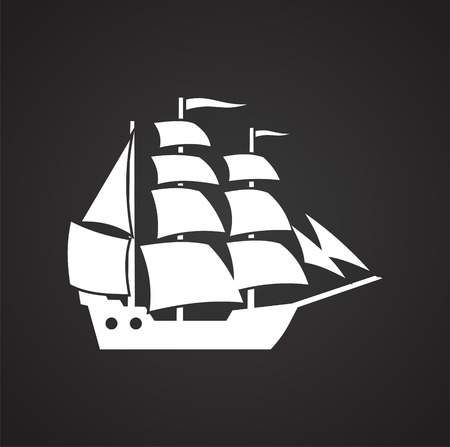 Ship icon on background for graphic and web design. Simple vector sign. Internet concept symbol for website button or mobile app.