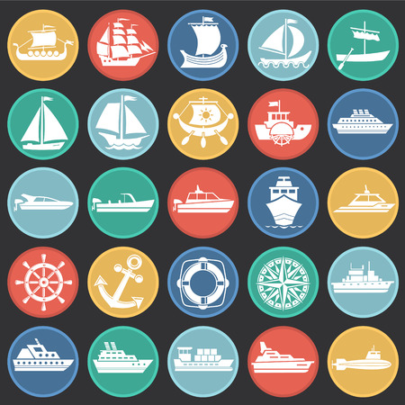 Ship icons on color circles black background for graphic and web design. Simple vector sign. Internet concept symbol for website button or mobile app. Illustration