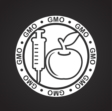 GMO icon on background for graphic and web design. Simple vector sign. Internet concept symbol for website button or mobile app Stock Illustratie