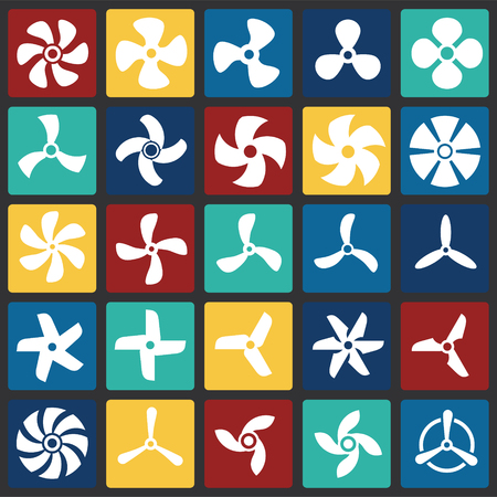 Propeller icons set on color squares background for graphic and web design. Simple vector sign. Internet concept symbol for website button or mobile app 向量圖像