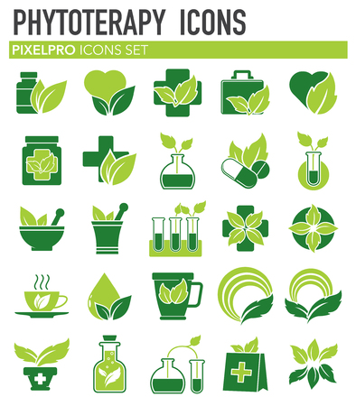 Phytoterapy icons set on white background for graphic and web design. Simple vector sign. Internet concept symbol for website button or mobile app.