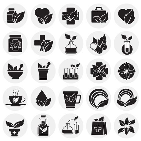 Phytoterapy icons set on circles background for graphic and web design. Simple vector sign. Internet concept symbol for website button or mobile app.