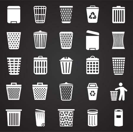 Trash bin icons set on black background for graphic and web design. Simple vector sign. Internet concept symbol for website button or mobile app.