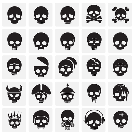 Skull icons set on squres background for graphic and web design. Simple vector sign. Internet concept symbol for website button or mobile app.