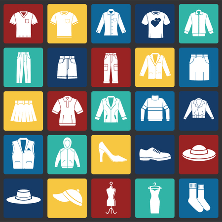 Clothing icons set on color squares background for graphic and web design. Simple vector sign. Internet concept symbol for website button or mobile app.