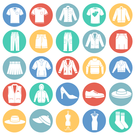 Clothing icons set on color circles white background for graphic and web design. Simple vector sign. Internet concept symbol for website button or mobile app. Illustration