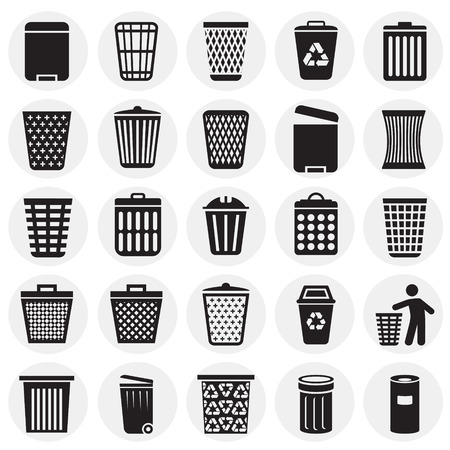 Trash bin icons set on circles background for graphic and web design. Simple vector sign. Internet concept symbol for website button or mobile app.