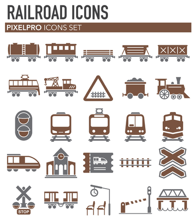 Railroad related icons set on white background for graphic and web design. Simple vector sign. Internet concept symbol for website button or mobile app.