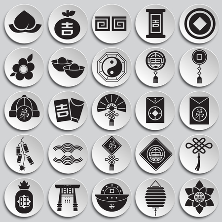 Chinese new year related icons set on plates background for graphic and web design. Simple vector sign. Internet concept symbol for website button or mobile app.