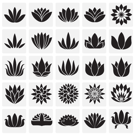 Lotos flowers icons set on squares background for graphic and web design. Simple vector sign. Internet concept symbol for website button or mobile app. Illustration