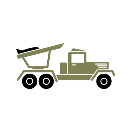 Military vehicle icon on background for graphic and web design. Simple vector sign. Internet concept symbol for website button or mobile app. Vektoros illusztráció