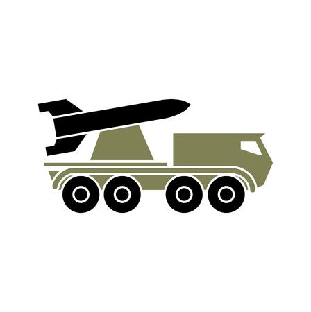 Icône de véhicule militaire sur fond pour la conception graphique et web. Signe de vecteur simple. Symbole de concept Internet pour le bouton de site Web ou l'application mobile. Vecteurs