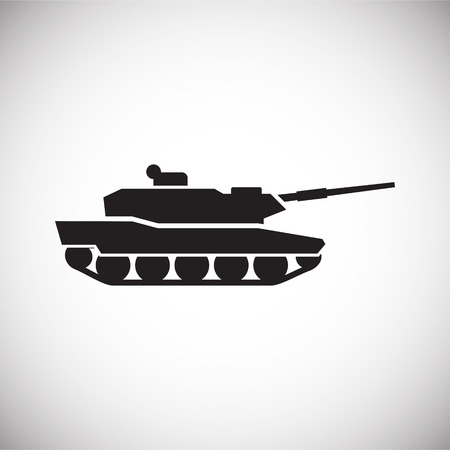 Military vehicle icon on background for graphic and web design. Simple vector sign. Internet concept symbol for website button or mobile app. 免版税图像 - 120360897