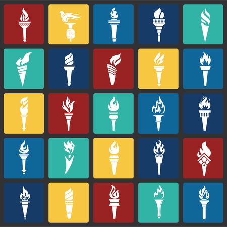 Torch icons set on color squares background for graphic and web design. Simple vector sign. Internet concept symbol for website button or mobile app