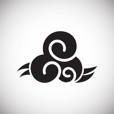 Icône de nuage asiatique sur fond pour la conception graphique et web. Signe de vecteur simple. Symbole de concept Internet pour le bouton de site Web ou l'application mobile.