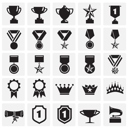 Awards icons set on squares background for graphic and web design. Simple vector sign. Internet concept symbol for website button or mobile app. Vector Illustratie
