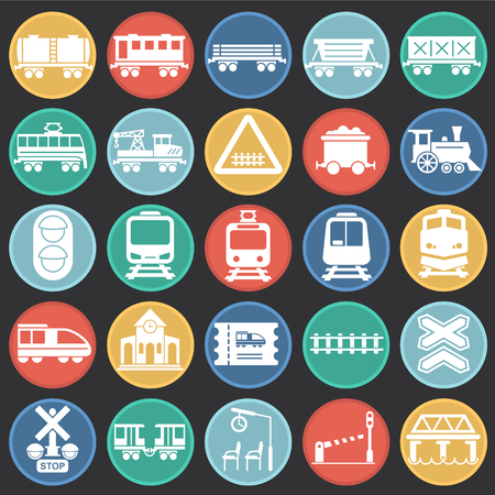 Railroad related icons set on color circles background for graphic and web design. Simple vector sign. Internet concept symbol for website button or mobile app