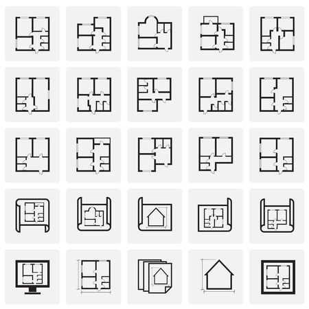 Home blueprint icon on squares background for graphic and web design. Simple vector sign. Internet concept symbol for website button or mobile app