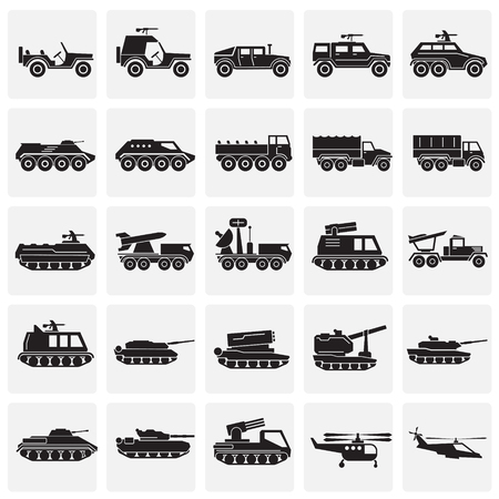 Military vehicles icons set on squares background for graphic and web design. Simple vector sign. Internet concept symbol for website button or mobile app Illustration