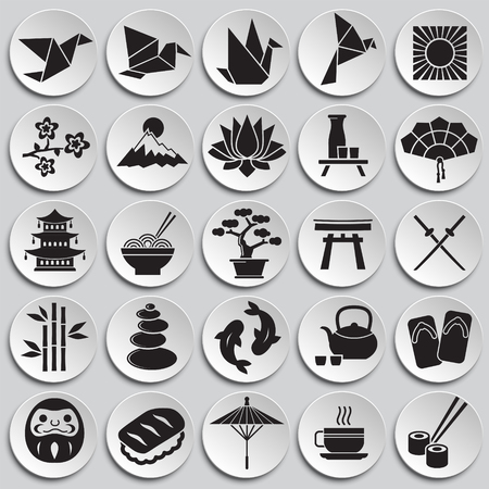Japan related icons set on plates background for graphic and web design. Simple vector sign. Internet concept symbol for website button or mobile app.