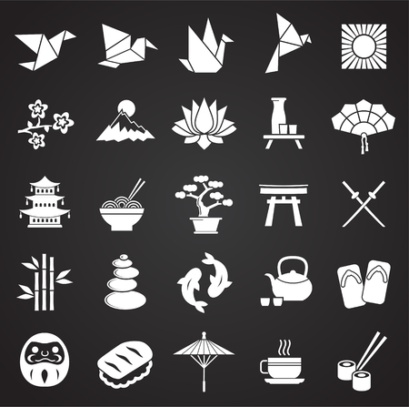 Japan related icons set on black background for graphic and web design. Simple vector sign. Internet concept symbol for website button or mobile app.