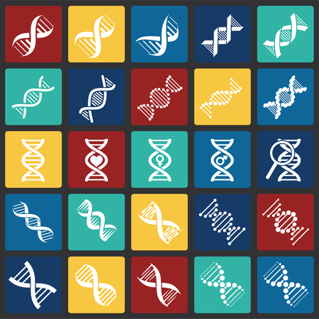 DNA icons set on color squares background for graphic and web design. Simple vector sign. Internet concept symbol for website button or mobile app