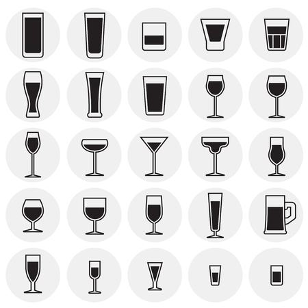 Glasses icons set on cirlces background for graphic and web design. Simple vector sign. Internet concept symbol for website button or mobile app.