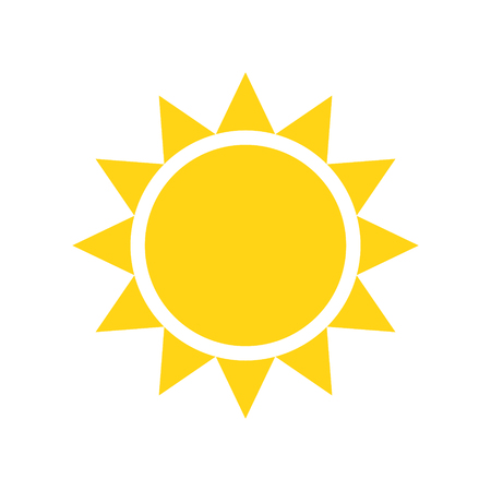 Icône de soleil sur fond pour la conception graphique et web. Signe de vecteur simple. Symbole de concept Internet pour le bouton de site Web ou l'application mobile. Vecteurs
