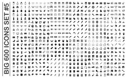 Grandi 600 icone impostate sullo sfondo per la progettazione grafica e web. Segno di vettore semplice. Simbolo del concetto di Internet per il pulsante del sito Web o l'app mobile. Vettoriali