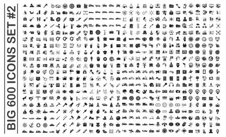 Big 600 icônes définies sur fond pour la conception graphique et web. Signe de vecteur simple. Symbole de concept Internet pour le bouton de site Web ou l'application mobile.
