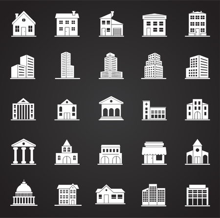 Buildings icons set on black background for graphic and web design. Simple vector sign. Internet concept symbol for website button or mobile app. Illustration