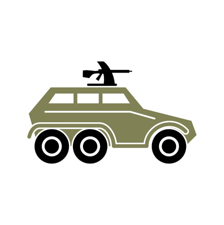 Military vehicle icon on background for graphic and web design. Simple vector sign. Internet concept symbol for website button or mobile app. Vector Illustration