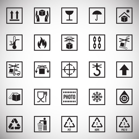 Packaging symbol icons on white background for graphic and web design. Simple vector sign. Internet concept symbol for website button or mobile app