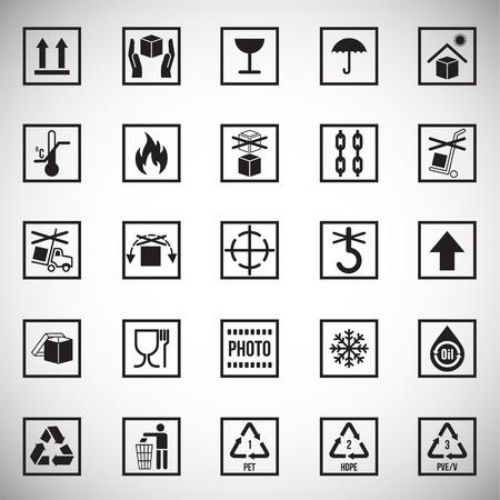 Verpackungssymbolsymbole auf weißem Hintergrund für Grafik- und Webdesign. Einfaches Vektorzeichen. Internet-Konzeptsymbol für Website-Button oder mobile App