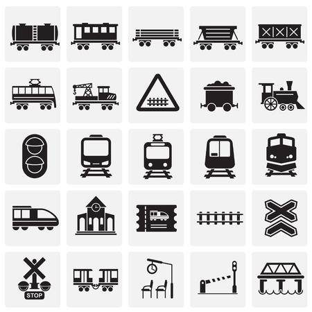 Iconos relacionados con el ferrocarril en fondo cuadrados para diseño gráfico y web. Signo de vector simple. Símbolo del concepto de Internet para el botón del sitio web o la aplicación móvil